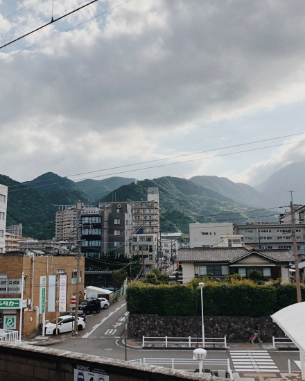 a glimpse of Beppu city from the tram